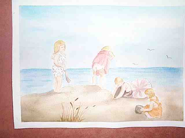 painting of children on the beach